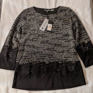 Karl Lagerfeld 3/4 Sleeve Top With Lace Details